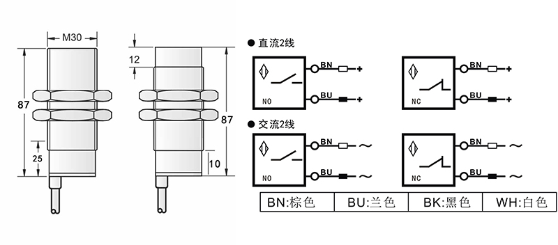 AC M30两线电容式接近开关