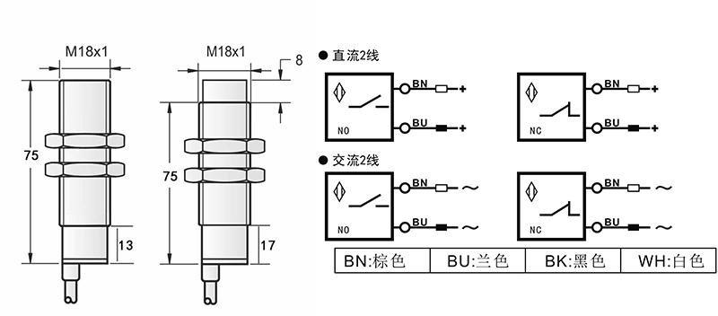 AC M18两线电容式接近开关