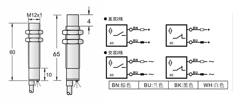 AC 2线 M12两线电感式接近开关