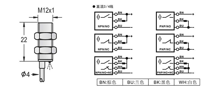 M12超短型电感式接近开关出线式